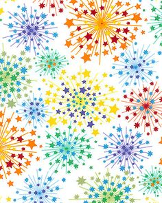 Starry Night Fireworks- White $9.95 yd equilter.com