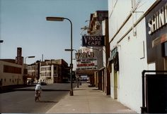 Uncle Sam's (former Bus Depot now First Ave), Venice Cafe World Theater, Academy Theater 7th Street, from Hennepin Ave 1977