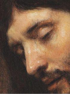 Head of Christ. Attributed to Rembrandt (Rembrandt Harmenszoon van Rijn) (1606 – 1669) circa 1655.