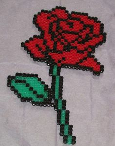 Rose hama perler beads by Keely Jade