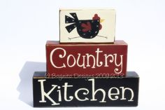 COUNTRY WOODEN BLOCKS | Country Kitchen Wood Block Stackers with Chicken | *Crafty*