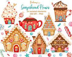 Winter Clipart, Christmas Clipart, Christmas Art, Christmas Cookies, Christmas Sweets, Planner Stickers, Diy Stickers, Clipart Noel, House Clipart