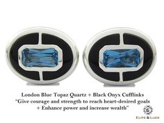 "London Blue Topaz + Black Onyx Sterling Silver Cufflinks, Rhodium plated, Prestige Model  *** Very Exclusive *** ""Give courage and strength to reach heart-desired goals + Enhance power and increase wealth"" *** Combine 2 Gemstone Powers to double your LUCK ***"