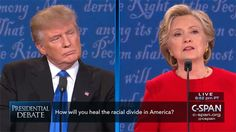 """During the debate, there was notable absence of mention of Trump's """"Muslim ban"""" — although there was a segment on race and the impact of stop-and-frisk and no-fly lists on communities. 