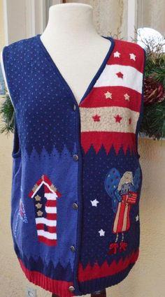 Quacker Factory Patriotic 4th of July Angel Sweater Vest L Cute Fun Wear w/Jeans #QuackerFactory #VestSleeveless