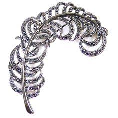 Kenneth Jay Lane Hematite Crystal & Gunmetal Feather Brooch Pin