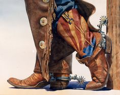 Cowboy and Fly Fishing Watercolor Prints for Sale - Nelson Boren Cowboy Horse, Cowboy And Cowgirl, Cowboy Boots, Cowboy Spurs, Cowboy Gear, Vintage Cowgirl, Western Art, Western Boots, Western Crafts