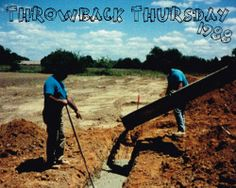 Owner, Jerry Guzzo with his brother, Anthony Guzzo pouring concrete foundation for a Shopping Center in 1988!   #GuzzoStucco #ThrowbackThursday #TBT #Owner #Brother #Stucco #Masonry #ShoppingCenter #Business #Concrete #1988