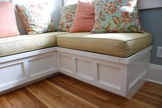Raised Panel window seat with storage Made by Square Peg inc., Asheville NC.