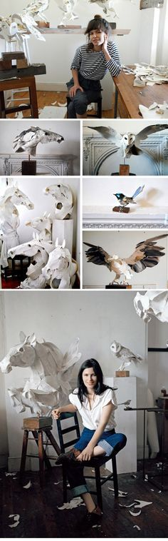 Anna-Wili Highfield in her art studio #workspace of animal paper sculptures.