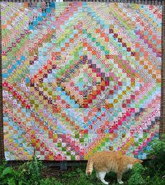 trip around the world scrappy quilt top by Anne@surelynotanotherproject, via Flickr