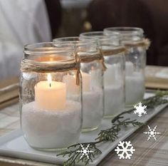 I could turn this idea into an Advent wreath. Non Traditional Advent Candles - Yellow Bliss Road - I have plenty of mason jars Noel Christmas, All Things Christmas, Winter Christmas, Christmas Crafts, Christmas Candles, Christmas Ideas, Simple Christmas, Homemade Christmas, White Christmas Party Theme