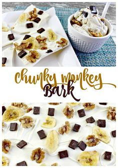 Chunky Monkey Bark Recipe - white chocolate, fudge chunks, dried bananas & pecans. Serve this delicious treat on its own or over ice cream as one of your party desserts!