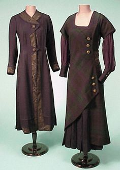 Circa 1910 Black Watch Plaid Outdoor Ensemble American. Comprising a coat and dress, the dress of black watch plaid wool, buttoning obliquely at left side, with full navy chiffon sleeves, satin waistband in back, with full silk underslip sewn at bottom with navy pleated wool half skirt revealed at bottom of dress at angular cut of outer layer, the coat of navy wool, with bright black watch plaid silk lining and navy moire band trim.  Via Doyle NY.