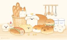 Cute Food Drawings, Cute Kawaii Drawings, Kawaii Doodles, Kawaii Chibi, Kawaii Art, Doodle Drawings, Cute Food Art, Cute Art, Cat Eyes Drawing