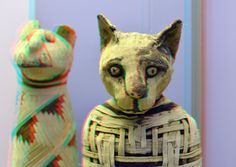 https://flic.kr/p/eSeaxd | Mummy of Cat 3D | British Museum London mummified cat   Abydos on the Nile 30BC ancient Egypt anaglyph  red/cyan.  From Abydos, Upper Egypt Roman Period, perhaps 1st century AD  Animals associated with deities were regularly mummified in the later periods of Egyptian history. The main concentration of cat burials was at sites with an association with a feline deity. The cat is associated with the goddess Bastet, whose cult centre was at Bubastis in the Delta, but…