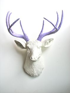 Faux Taxidermy Deer Head wall mount in white head with lavender antlers. $109.00, via Etsy.
