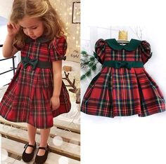 US Baby Girls Christmas Xmas Plaid Bowknot Dress Outfit Costume Holiday Gift - H. US Baby Girls Christmas Xmas Plaid Bowknot Dress Outfit Cost Toddler Girl Christmas Outfits, Xmas Party Outfits, Girls Christmas Dresses, Kids Outfits, Holiday Dresses, Family Outfits, Baby Girl Dress Patterns, Baby Girl Dresses, Baby Girls