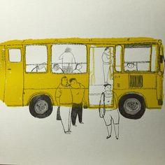 늦는 사람 꼭있다. 나...#일러스트 #버스 #터미널 #드로잉 #사람 #두들링 #손풀기 #마감아직도 #스케치북 #illustration…