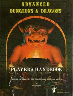 Players Handbook First Printing, released in 1978. Has a white flyleaf and wizard logo. 2nd Printing has an orange flyleaf. Later printings (5th on) have the yellow angled AD&D logo.