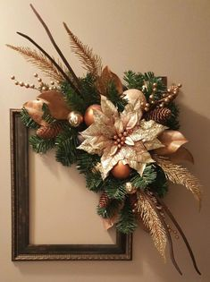 Fun little craft project for the holidays. Decorate a picture frame wreath. marlas : Fun little craft project for the holidays. Decorate a picture frame wreath. Diy Christmas Decorations Easy, Christmas Lanterns, Christmas Swags, Christmas Crafts For Gifts, Christmas Centerpieces, Holiday Wreaths, Christmas Diy, Picture Frame Wreath, Picture Frame Crafts