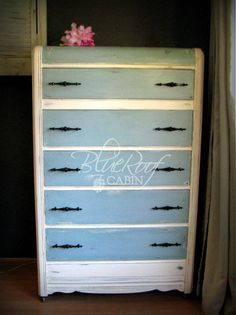 Annie Sloan Chalk paint in Old White for the Body and Duck Egg Blue for the top and drawers