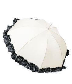 Lila Ladies Black & Cream Fashion Umbrella - Unique Vintage - Prom dresses, retro dresses, retro swimsuits.