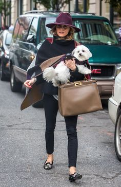 Olivia Palermo walks in New York with her Fendi Peekaboo bag