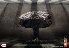 Print advertisement created by TBWA, Egypt for Combat, within the category: House, Garden. Mushroom Cloud, Nuclear Bomb, Great Ads, Creative Advertising, Advertising Campaign, Egypt, Stuffed Mushrooms, Herbs, Clouds
