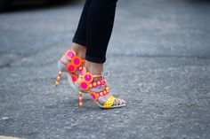 Neon pink and yellow heeled sandals