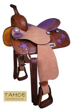 LOVE THE PURPLE $400 - Amazon.com: Ostrich Print Purple Star Western Barrel Saddle: Sports & Outdoors