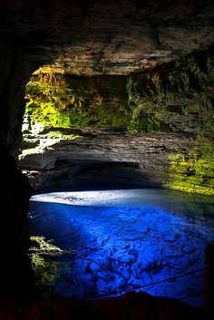 "visitheworld: "" The amazing Poço Encantado Cave in Chapada Diamantina National Park, Brazil (by Fernando Leoni). Places Around The World, Oh The Places You'll Go, Places To Travel, Places To Visit, Around The Worlds, Travel Destinations, Wonderful Places, Beautiful Places, Amazing Places"