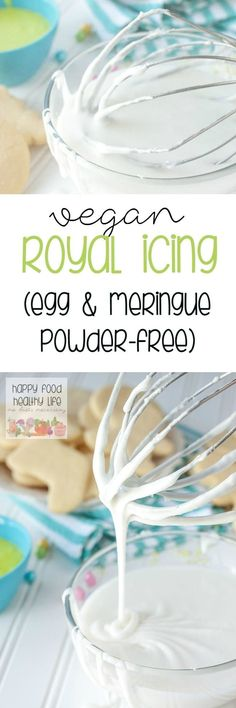 Vegan Royal Icing without Egg Whites Egg-Free Vegan Royal Icing - This EGG-FREE ROYAL ICING is the perfect icing to decorate your cooking without having to use eggs or even meringue powder! Egg Free Recipes, Baking Recipes, Cookie Recipes, Vegan Recipes, Baking Ideas, Drink Recipes, Sweet Recipes, Royal Icing Cookies Recipe, Cake Cookies