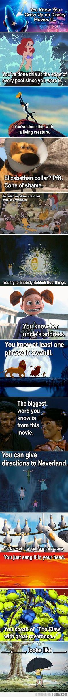 I want my kids to grow up on Disney movies. You know you grew up on Disney movies if. Disney Pixar, Walt Disney World, Film Disney, Disney And Dreamworks, Funny Disney Memes, Disney Facts, Disney Quotes, Pixar Facts, Disney Humor