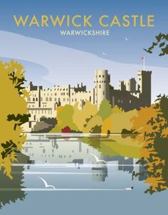 Warwick Castle. By illustrator, Dave Thompson wholesale fine art print