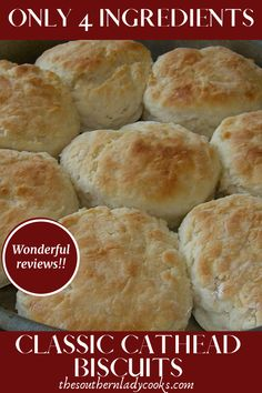 """CLASSIC CATHEAD BISCUITS - An old-fashioned, easy and delicious biscuit. Called """"cathead"""" because they are supposed to be as big as a cat's head. Source by jdyygr - Old Fashioned Biscuit Recipe, Old Fashioned Recipes, Big Biscuit Recipe, Corn Dip Recipes, Easy Bread Recipes, Baking Recipes, Easy Biscuit Recipe 3 Ingredients, Cat Head Biscuits, Southern Biscuits"""