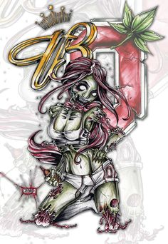 Tattoo Commission work for Jason Oliveri Jason contacted me with 3 simple requests: 1. Zombie Girl 2. Budweiser 3. Ohio State Cant Wait to see pictures of it finished Jason! 12 inches x 15 inches o...