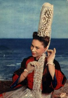 Brittany, France. Tall Breton Lace Headdress.   I have a picture of my great-aunt wearing one of these in France