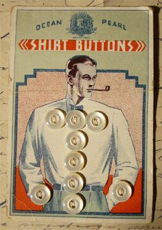 Oversized vintage button card with men's shirt buttons graphic pipe smoker 1920s
