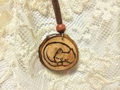 Sleeping Cat Wood Burned Pendant Original Handmade by LadyDryad, $15.00