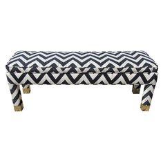 Milo Baughman Style Parsons Bench with Brass Feet - $2,300 Est. Retail - $795 on Chairish.com