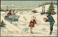 Glædelig Jul! Dato / Date: ca. 1909 Kunstner / Artist: T. N. Utgiver / Publisher: ukjent / unknown Digital kopi av original / Digital copy of original: trykt postkort, farge Eier / Owner Institution: Nasjonalbiblioteket / National Library of Norway