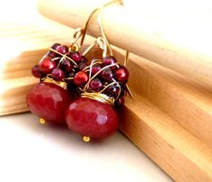 FREE shipping  The Norina  sweet earrings with red by anthology27, $26.95