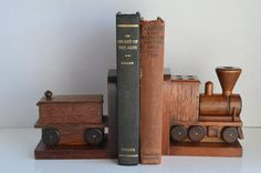 VINTAGE BOOKENDS-Wooden Train Set-Heavy-Holds Larger Books-Rustic Home Decor-Railroad Exhibit-Engine & Caboose-Locomotive Dresser Display