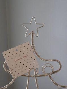 SOLD, Metal Christmas Tree Card Holder