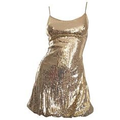 Preowned Sexy 1990s Vintage Gold Sequin 90s Mini Babydoll Dress Size... ($550) ❤ liked on Polyvore featuring dresses, multiple, vintage dresses, sexy cocktail dresses, brown cocktail dress, gold dress and vintage doll dress