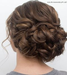 loose curls on the top, wave into bun