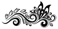 Black-and-white Flowers And Leaves Design Element. Floral Design Element In Retro Style. Stock Vector - Illustration of mandala, geometric: 33356254 Black And White Flowers, Black And White Design, Black White, Design Floral, Leaf Design, Border Design, Bullet Journal Leaves, Mehndi, Butterfly Clip Art
