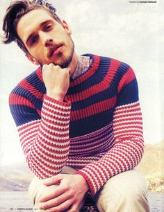 Red and navy stripe jumper