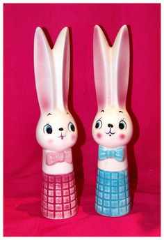 Vintage Bunny Boy & Girl S&P Shakers